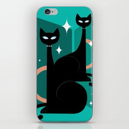 Fashionable Felines Atomic Age Black Kitschy Cats iPhone Skin