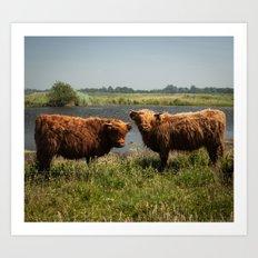Hipster Cows Art Print