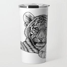 Amur tiger cub - ink illustration Travel Mug