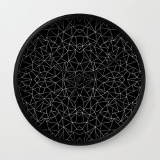 Abstract Collide Outline White on Black Wall Clock