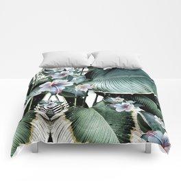 Banana leaf tropical paradise, leaves, hibiscus, Hawaii Comforters