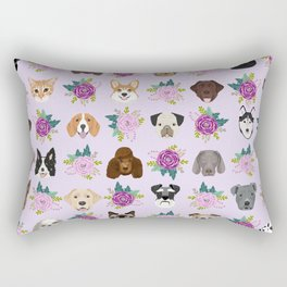 Dogs and cats pet friendly floral animal lover gifts dog breeds cat person Rectangular Pillow