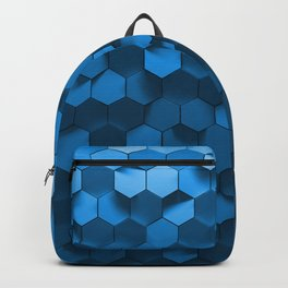 Blue hexagon abstract pattern Backpack