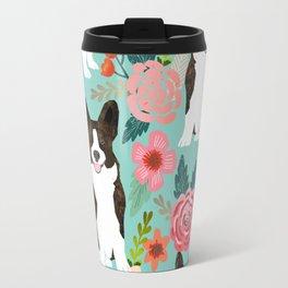 Brindle Cardigan Corgi Florals - cute corgi design, corgi owners will love this mint florals corgi Travel Mug