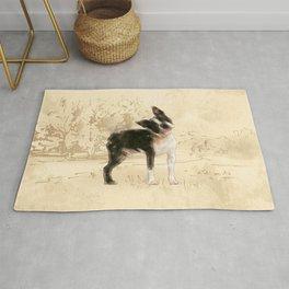 Boston Terrier Watercolor Digital Art Rug