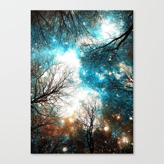 Black Trees Turquoise Brown Space Canvas Print