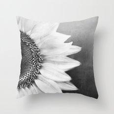 B&W Sunflower Throw Pillow