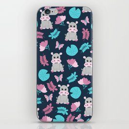 Cute Pink Teal Hippo Floral Butterfly Lily Pad iPhone Skin