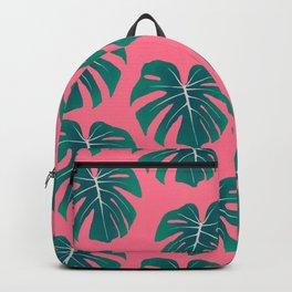 Monstera Leaves - Pink Backpack