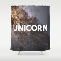 unicorn Shower Curtains featuring Unicorn by eARTh