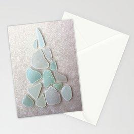 Sea Foam Sea Glass Christmas Tree #Christmas #seaglass Stationery Cards