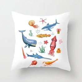 Prehistoric Ocean Critters Throw Pillow