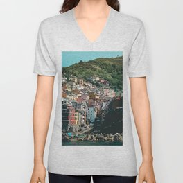 Colored Houses of Italy Unisex V-Neck
