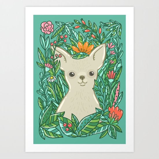 Chihuahua in the flowers Art Print