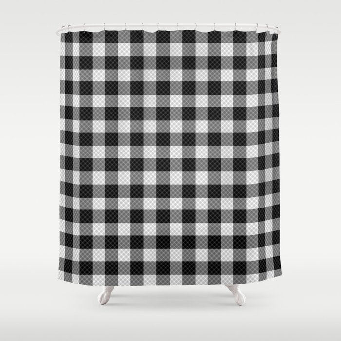 Sleepy Black And White Plaid Shower Curtain By Richcaspianphotography