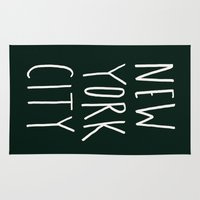 nyc Area & Throw Rugs featuring NYC by Leah Flores