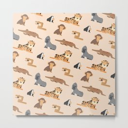 African Jungle Animals Pattern Metal Print