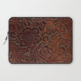 Burnished Rich Brown Tooled Leather Laptop Sleeve