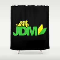subaru Shower Curtains featuring Eat Sleep JDM by Vehicle