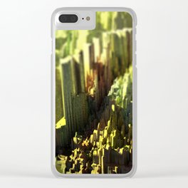 Urban landscape city mountain intricate pattern texture 3d illustration sunset digital painting Clear iPhone Case