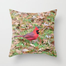 Autumn Leaves Cardinal Throw Pillow