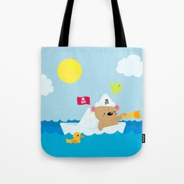 Bear in paper boat Tote Bag