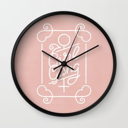 Feminist Girl Gang Pink Ornate Art Nouveau Calligraphy Wall Clock
