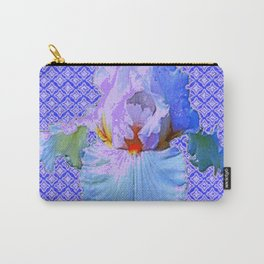 BLUISH-WHITE PASTEL IRIS FLOWERS OPTICAL ART PATTERNS Carry-All Pouch