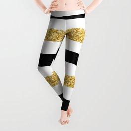 Black and Gold Glitter Brushstroke Stripes Leggings