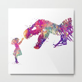 Girl and Dinosaur T-Rex Art Animals Nursery Decor Kids Room Watercolor Print Purple Home Decor Metal Print