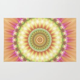 Beauty Mandala 01 in Pink, Yellow, and Pale Green Rug