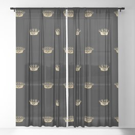 Black & Gold Crown Pattern Sheer Curtain