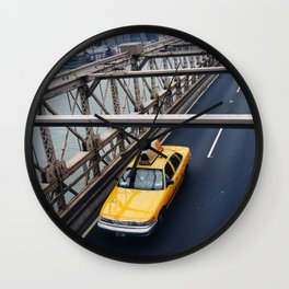 New York Cab with Twin Towers in background over Brooklyn Bridge Wall Clock