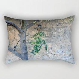 Painted gunge wall and tree Rectangular Pillow