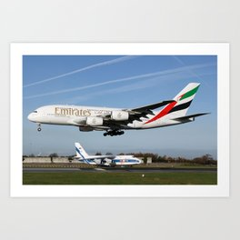 Emirates Airbus A380-800 on approach to Manchester Airport with a Volga-Dnepr Antonov An124-100 Art Print