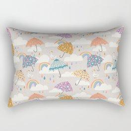Rainbow Spring Showers Rectangular Pillow