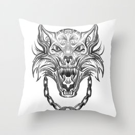 Norse Wolf Monster Fenrir Throw Pillow