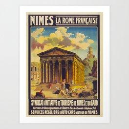 Nimes la Rome francaise Travel Poster Art Print