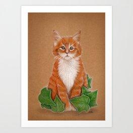 Poison Kitty, red little cat Art Print