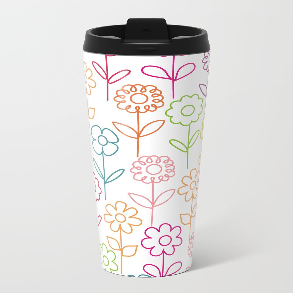 Colorful Flowers On White Travel Mug TRM7849008