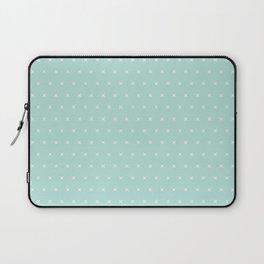 Aqua blue and White cross sign pattern Laptop Sleeve