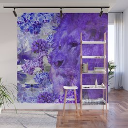LION AND ORCHIDS  PURPLE AND BLUE FANTASY DREAM Wall Mural