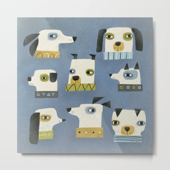 DOG HEADS Metal Print