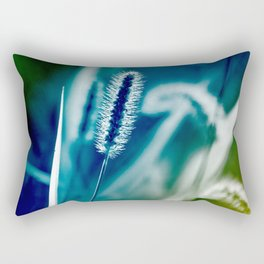 Blue Grass Abstract Art Rectangular Pillow