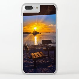 Winter Sunset at the Casco Bay Bridge Clear iPhone Case