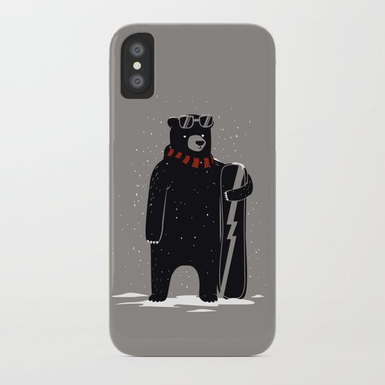 Bear on snowboard iPhone Case