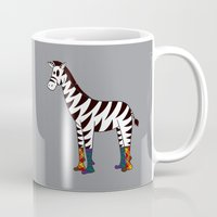 socks Mugs featuring Zebra Socks by Kendra Blinde