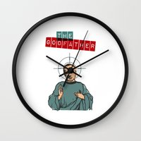 the godfather Wall Clocks featuring The godfather by Marta Colomer