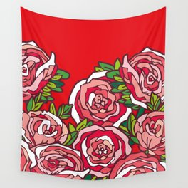 Valentine's Red Roses Wall Tapestry