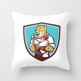 Cheetah Heating Specialist Crest Cartoon Throw Pillow